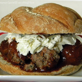 Barbecue Meatball Sandwiches with Onions and Coleslaw