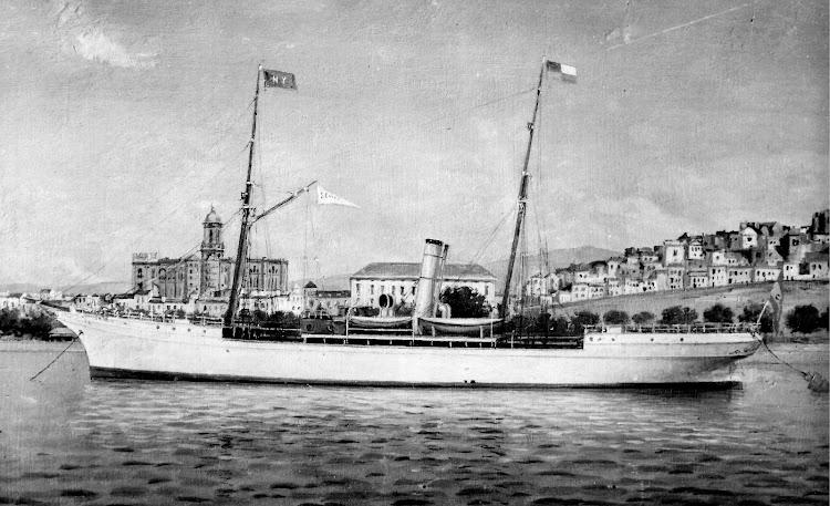 Oleo de autor desconocido del vapor SEVILLA en Malaga. Colección Jaume Cifre Sanchez. Nuestro agradecimiento.jpg