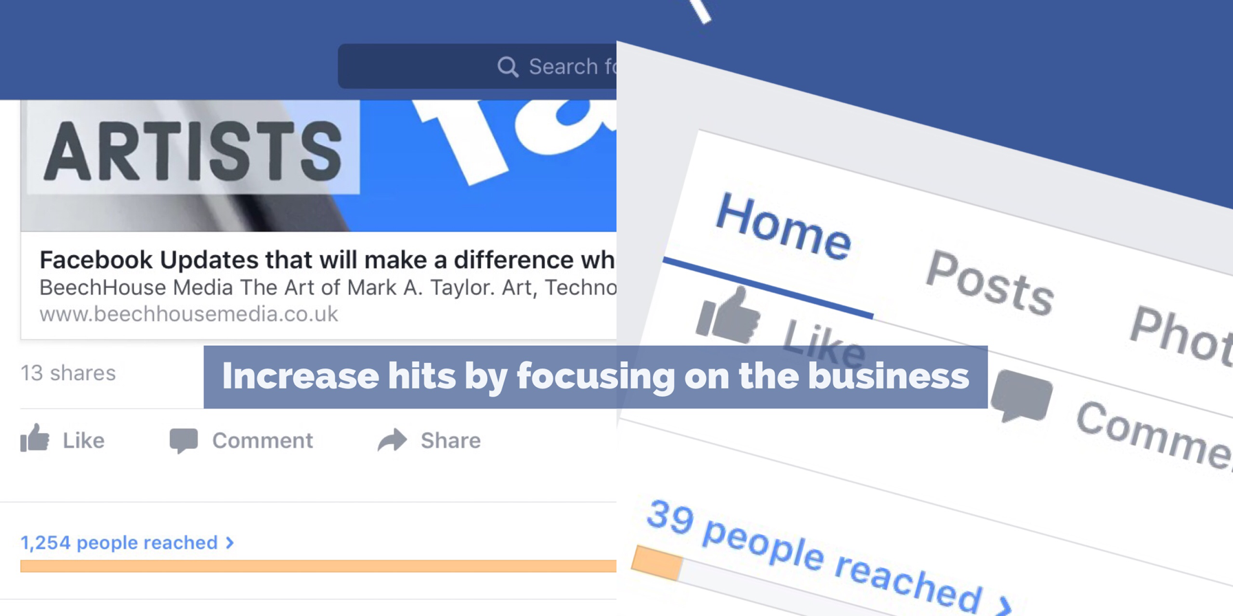 focus on the business within Facebook for artists