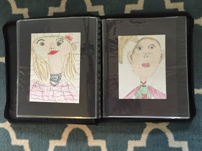 After showing all of those projects, I said that even though those were fun projects, I could have just pulled projects from my most talented kids and showed them off, whether I had much to do with that talent or not. So these next three images are what I showed the committee next. These are self portraits from two second graders and one third grader, respectively. Each spread contains a self portrait from the student from the beginning of the year and one from a few weeks ago.