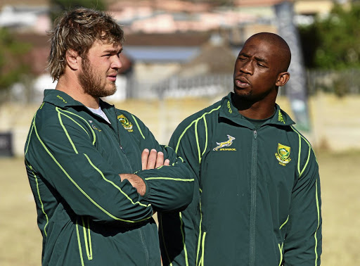 We've come a long way: Duane Vermeulen, left, and Siya Kolisi at an SA Rugby Union symposium in Mthatha in July 2013. Picture: GALLO IMAGES
