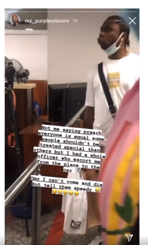 Speed Darlington confronts airport officials for attending to people who jumped the queue (video)