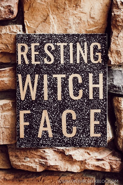 Resting Witch Face mixed media canvas art