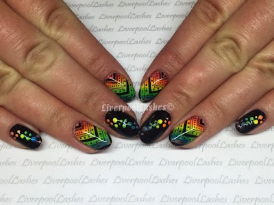 liverpoollashes neon rainbow nail tutoriall shellac nail art irresistable nail shadows lecente easy fun nail video