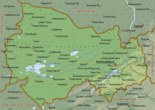 Новосибирская область на карте