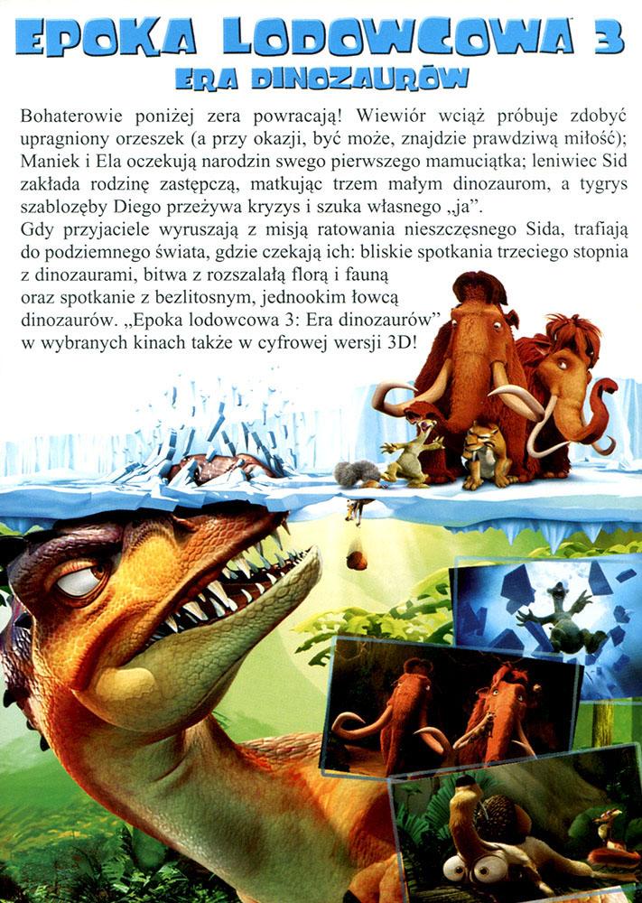 Ulotka filmu 'Epoka Lodowcowa 3: Era Dinozaurów (tył)'