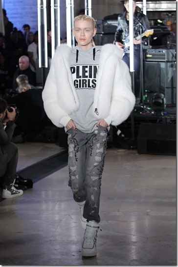 NEW YORK, NY - FEBRUARY 13:  A model walks the runway wearing look #53 for the Philipp Plein Fall/Winter 2017/2018 Women's And Men's Fashion Show at The New York Public Library on February 13, 2017 in New York City.  (Photo by Thomas Concordia/Getty Images for Philipp Plein)