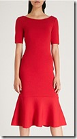 Oscar de la Renta Frilled Hem Red Dress