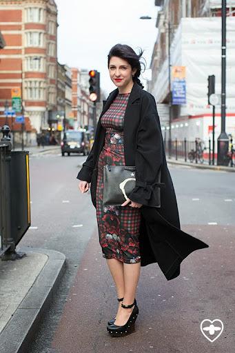 Maria Dimitrova; freelance journalist; Topshop Boutique coat; Evis top Evis skirt; McQ shoes; Givenchy clutch;