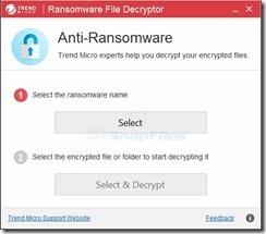 برنامج فك تشفير الملفات المشفرة بفيروسات الفدية Trend Micro Ransomware File Decryptor 1