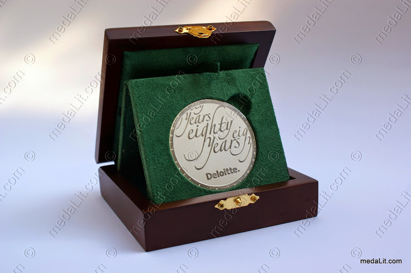 Absi Custom-Made Silver-Plated Medal with Deloitte eighty years impression