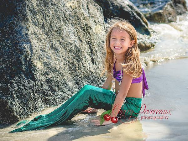 Adorable little mermaid on Tybee