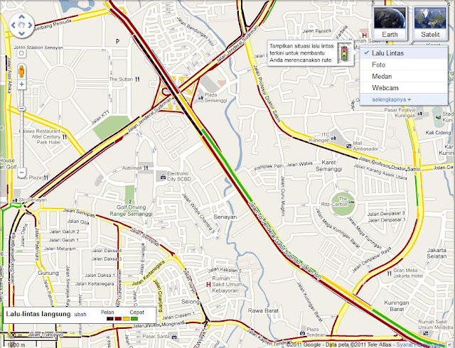 informasi lalul lintas jakarta di google maps indonesia