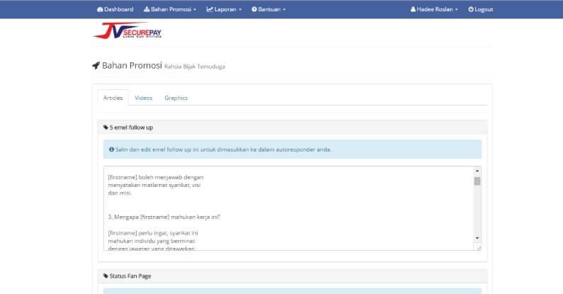 Platform Affiliate Malaysia JVSecurePay Promo Tools