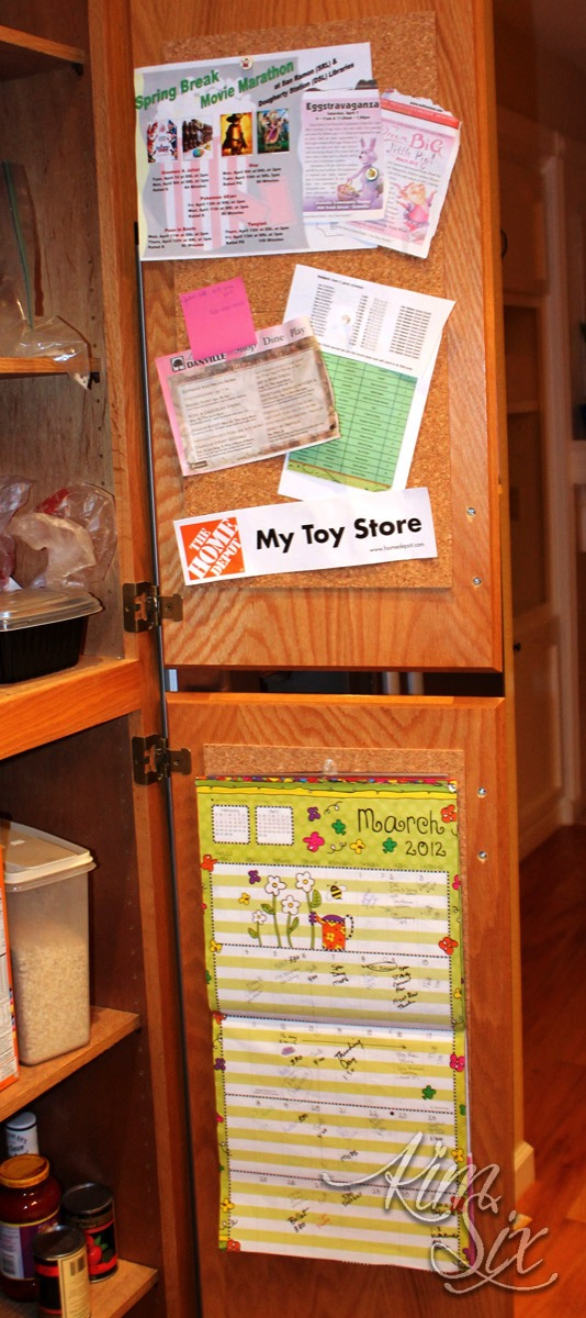 Corkboard inside cabinet doors: Organizing Cabinets with Corkboards.. no more countertop clutter