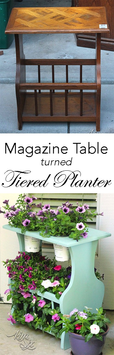 Magazine Table Turned Tiered Planter. A great way to upcycle an old magazine rack, fill it with flowers!