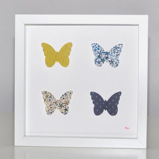 Grand cadre papillons Papillons étoiles bleu & moutarde Mille Coquelicots