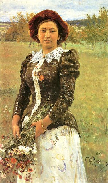 Ilia Repin - Autumn Bunch. Portrait of Vera Ilyinichna Repina, the Artist's Daughter