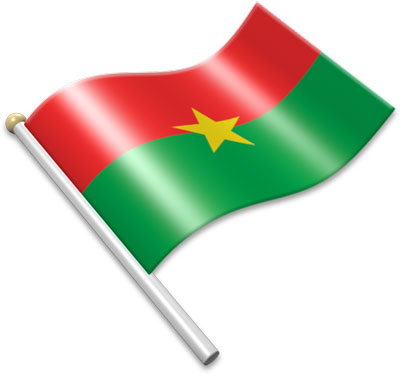 The Burkinabé flag on a flagpole clipart image