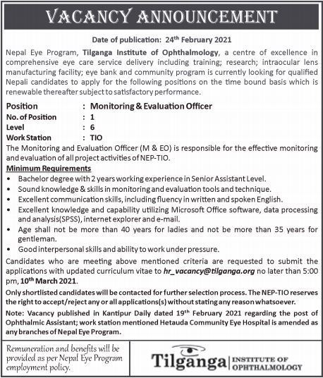 Tilganga Institute of Ophthalmology Vacancy for Monitoring & Evaluation Officer: