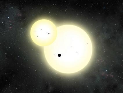 ilustração de um eclipse estelar e um trânsito planetário simultâneo