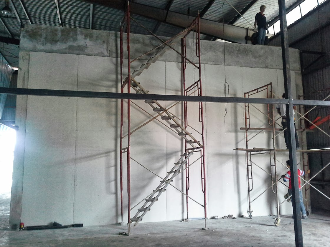 Gypsum Partition Of Stair : Design build laboratory office at beranang