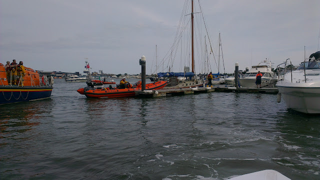 21 July 2012 - Poole ILB and ALB at the scene of a fire onboard a motor cruiser. Photo: powerboat-training-uk.co.uk
