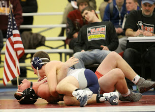 Photo: 195 Christopher Baker (Jackson County Central) over Justin Berry (Thompson) Fall 2:11. Photo by Mark Beshey