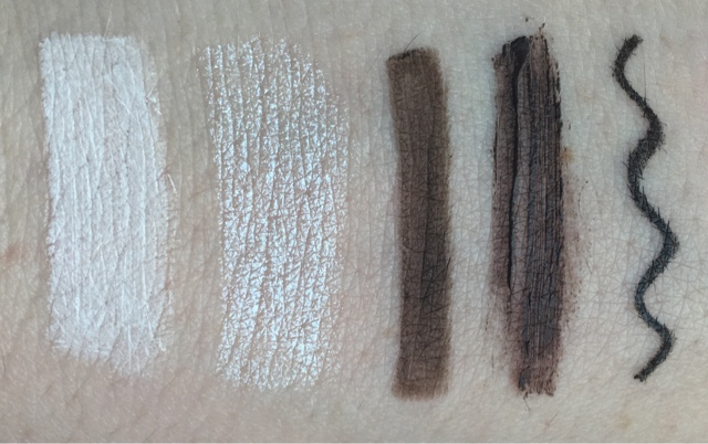 eye duo pencil, eyebrow products and eyeliner swatches