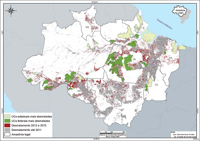 Map of the 50 most deforested Conservation Units of the Amazon rainforest between 2012 and 2015. Graphic: Imazon