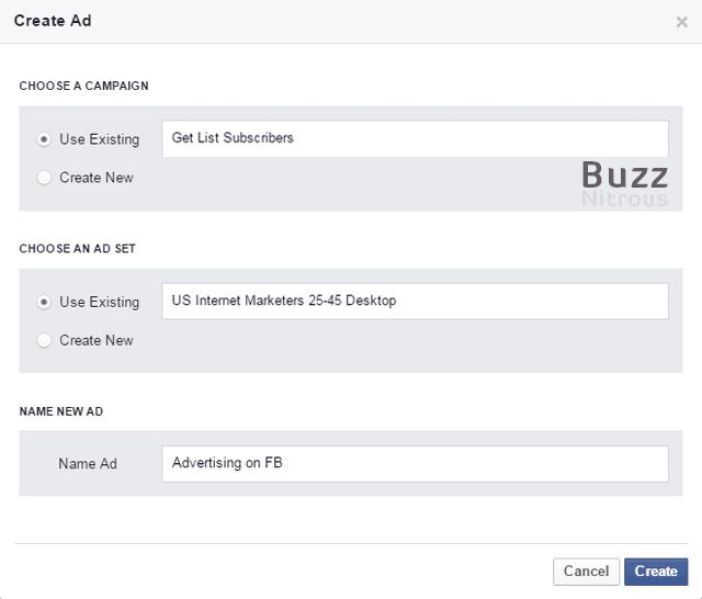 Create new Ad window
