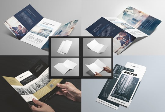 4 mockups para folletos trípticos.