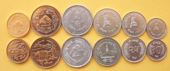 gambar uang negara nepal, gambar uang logam rupee nepal, uang rupee nepal
