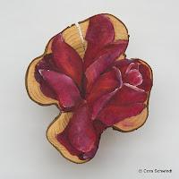 """Rose dunkelpurpur"", Öl auf Eibenholz, 10x15, 2006, unverkäuflich"