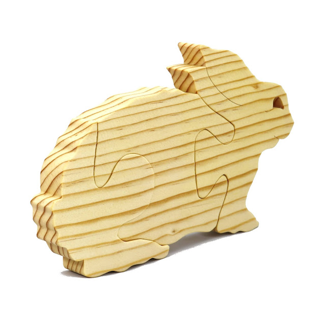 Handmade Wood Toy Rabbit Puzzle A Simple Three Part Puzzle for Toddlers an Preschoolers
