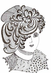 445 Zentangle Lady