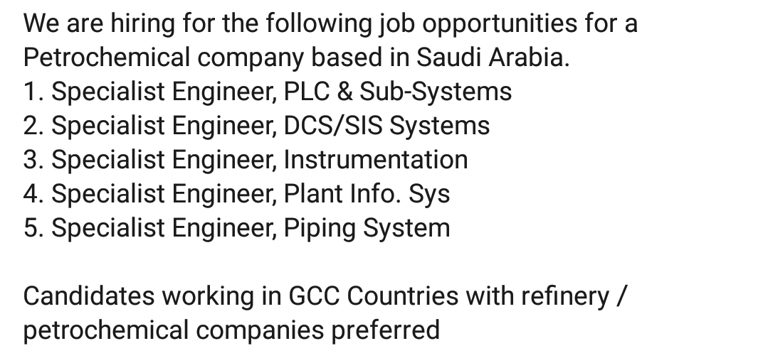 Oil and Gas Jobs: Petrochemical Company Jobs in Saudi Arabia