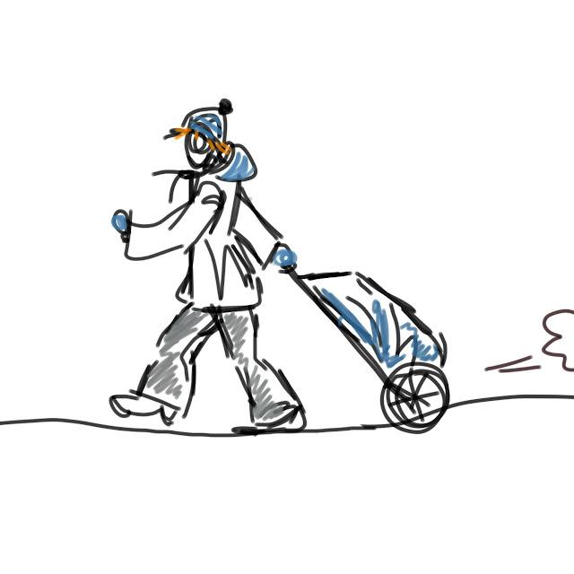 Zeichnung einer Person, die schwungvoll einen Hackenporsche zieht. Von Meike Kröger
