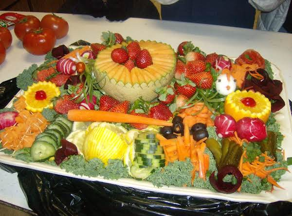 Garnishing Tray Of Appetizers