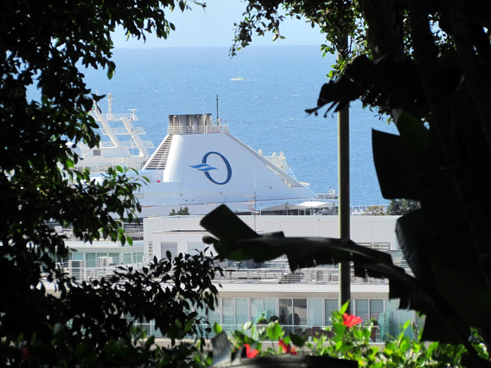 funnel cruise ship detail in Funchal port