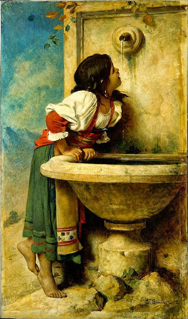 Léon Bonnat - Roman Girl at a Fountain