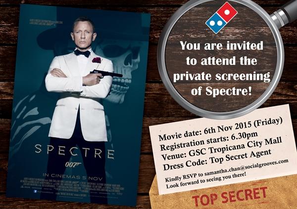 kad jemputan menonton filem James Bond Spectre