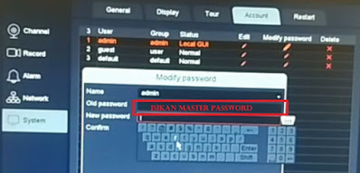 Cara reset Password UVR CCTV