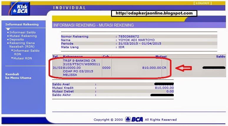 Rek. BCA - Bukti Transfer Pembayaran ODAP Kerja Part Time Online Bulan Maret 2015