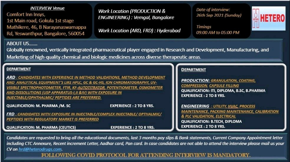 Walk-in 26thSept 21 Formulation development, Analytical Research, Production & Engineering Department At Hetero