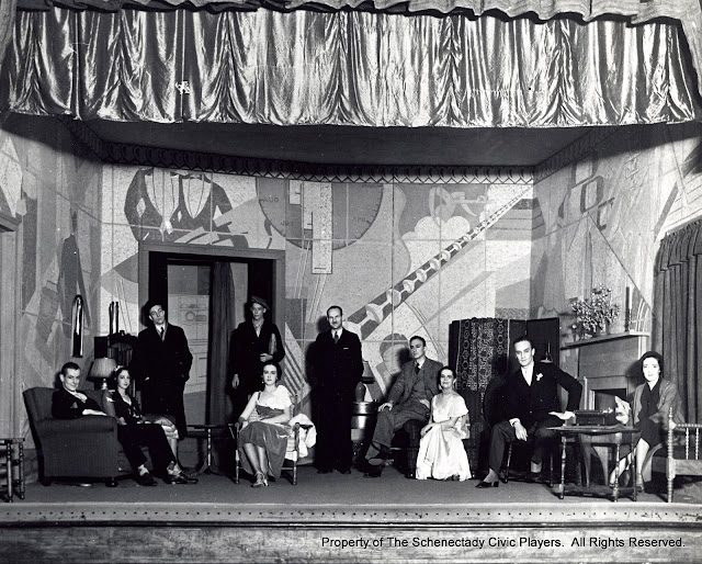 H. William Smith, Jr., Margaret D. Clarke, Richard P. Davis, (Unknown), Patricia A. Sheldon, Milton Arneel, Robert Stone, Florence Sanford, Moorhead Wright and Harriet B. Fryer in UP POPS THE DEVIL - November 1932.  Property of The Schenectady Civic Players Theater Archive.