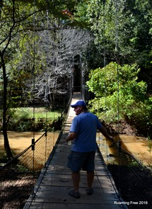 Going back over the swinging bridge