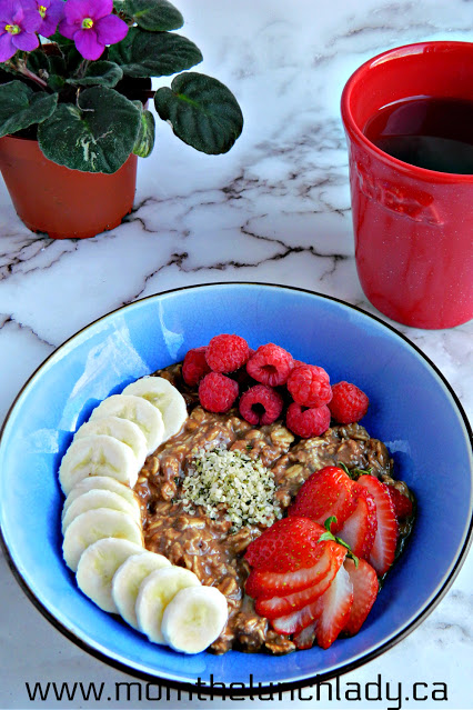 bowl of overnight oats and fruit