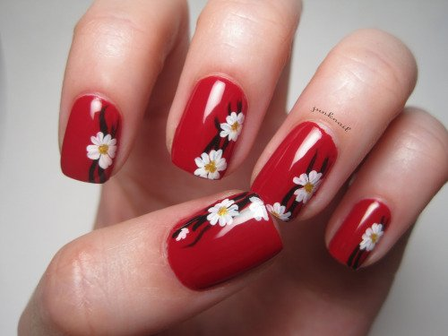 black and red flower nail art design styles 2d