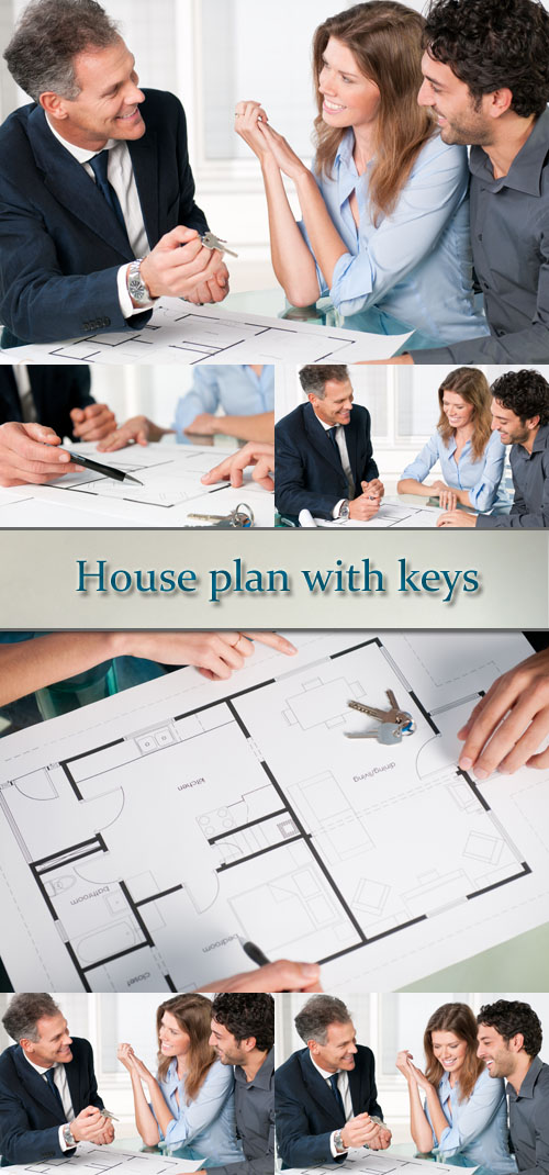 Stock Photo: House plan with keys